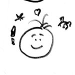 imagination  A sketch of a happy face with a horse, a star, a rocket and a heart floating around it.